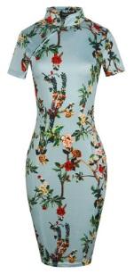 Платье в восточном стиле с цветочным принтом и короткими рукавами Цвет: СВЕТЛО-СИНИЙ