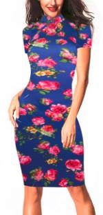 Платье в восточном стиле с цветочным принтом и короткими рукавами Цвет: СИНИЙ (РОЗЫ)