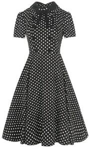 Платье в горох с отложным воротничком и короткими рукавами Цвет: ЧЕРНЫЙ С БЕЛЫМ