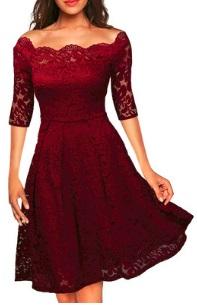 Кружевное платье с открытыми плечами и короткими рукавами Цвет: БОРДО