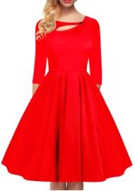 Платье в ретро стиле с рукавами средней длины и декоративной застежкой на груди Цвет: КРАСНЫЙ