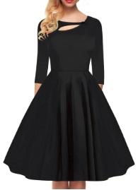 Платье в ретро стиле с рукавами средней длины и декоративной застежкой на груди Цвет: ЧЕРНЫЙ