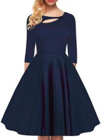 Платье в ретро стиле с рукавами средней длины и декоративной застежкой на груди Цвет: СИНИЙ