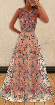Платье в пол без рукавов с вышивкой Цвет: РОЗОВЫЙ