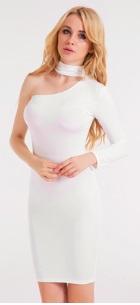 Платье на одно плечо с длинным рукавом Цвет: БЕЛЫЙ