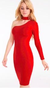 Платье на одно плечо с длинным рукавом Цвет: КРАСНЫЙ