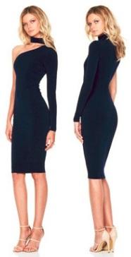 Платье на одно плечо с длинным рукавом Цвет: ТЕМНО-СИНИЙ