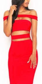 Платье с открытыми плечами и вырезами на животе и спине Цвет: КРАСНЫЙ
