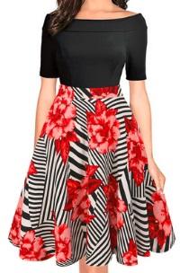 """Платье с цветочным принтом на юбке вырезом """"лодочка"""" и короткими рукавами Цвет: ЧЕРНЫЙ С КРАСНЫМ"""