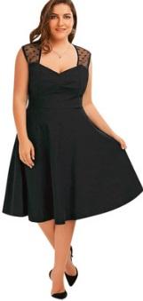 Платье-миди без рукавов V вырезом на груди Цвет: ЧЕРНЫЙ