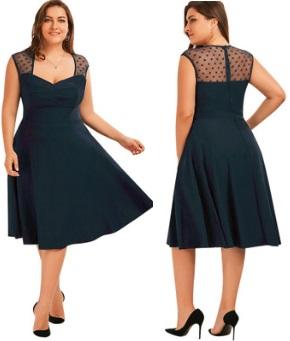 Платье-миди без рукавов V вырезом на груди Цвет: ТЕМНО-СИНИЙ