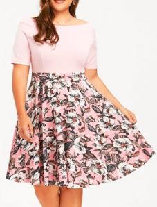 """Платье с вырезом """"лодочка"""" и короткими рукавами Цвет: РОЗОВЫЙ"""