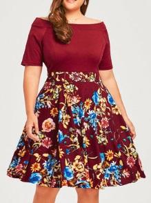 """Платье с вырезом """"лодочка"""" и короткими рукавами Цвет: БОРДО"""