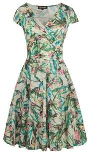 Платье с эффектом запаха и короткими рукавами Цвет: ЗЕЛЕНЫЙ (ЦВЕТЫ)