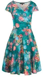 Платье с эффектом запаха и короткими рукавами Цвет: ТЕМНО-ЗЕЛЕНЫЙ (ЦВЕТЫ)