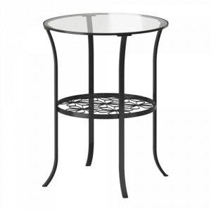 КЛИНГСБУ Придиванный столик, черный, прозрачное стекло, 49x62 см