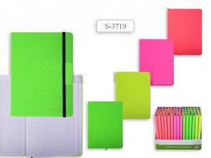 Записная книжка НЕОН, клетка, внутр. блок- радуга, 200 стр,  13x18 cм, 4 цвета в ассортименте. 16шт в дисплее.  NEW