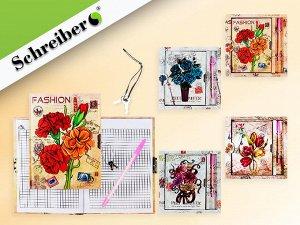 Записная книжка детская с замочком ЦВЕТЫ, с ручкой шариковой, в подарочной упаковке, 20,5х21 см, 4 цвета в ассортименте. NEW