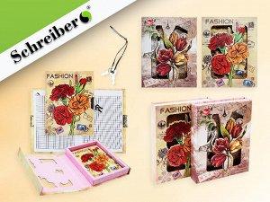 Записная книжка детская с замочком ЦВЕТЫ, в подарочной упаковке, 18х13,5см, NEW