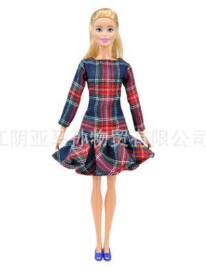 Платье в клеточку с воланом по низу