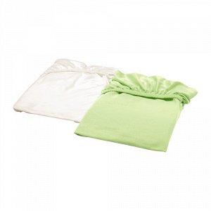 ЛЕН Простыня натяжн для кроватки, белый, зеленый, 2 шт