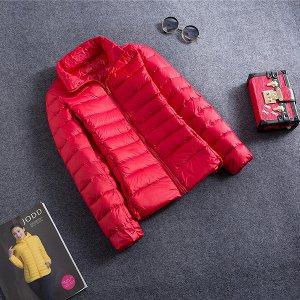 Ультралегкая женская куртка, цвет ярко-красный
