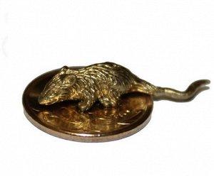 Мышка кошельковая (новая) на монете цвет золото