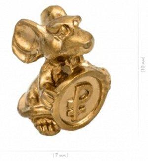 Мышка кошельковая с Монетой , цвет золото (в упак)
