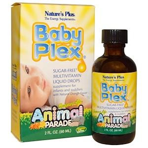 Nature's Plus, Source of Life, Animal Parade, Baby Plex, жидкие мультивитаминные капли без сахара 60 мл
