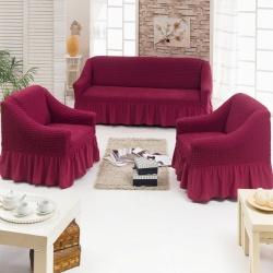 Чехол для мебели 3 предм, бордовый