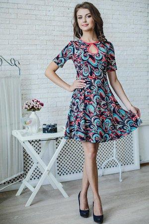Платье Ткань атаман длина 90см;; Яркое платье с коротким рукавом и неглубоким вырезом-капелькой в зоне декольте.Присборенная юбка выше колена, расклешенная к низу, придает наряду особую легкость,игрив