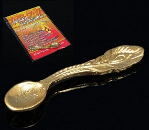 Ложка- загребушка Перо цвет золото, в упак