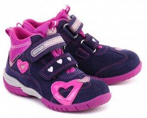 Детские фиолетовые замшевые ботинки