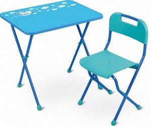 """Набор мебели """"Алина"""" (стол+слут ЛДСП) ,голубой Высота стола 58см тм NIKA"""