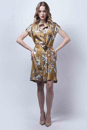 Платье, жен., горчичный принт