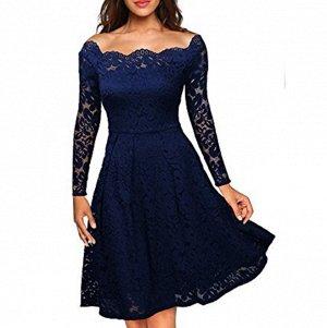Платье средней длины кружевное с длинными рукавами цвет: СИНИЙ
