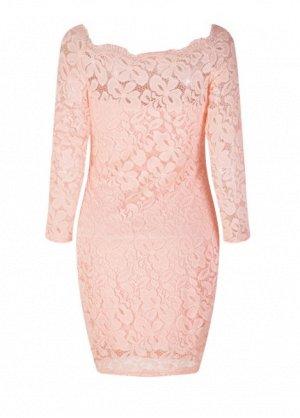Платье короткое кружевное с длинными рукавами цвет: РОЗОВЫЙ
