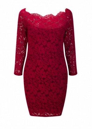Платье короткое кружевное с длинными рукавами цвет: КРАСНОЕ ВИНО