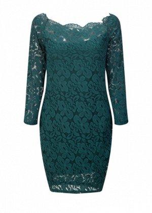 Платье короткое кружевное с длинными рукавами цвет: ЗЕЛЕНЫЙ