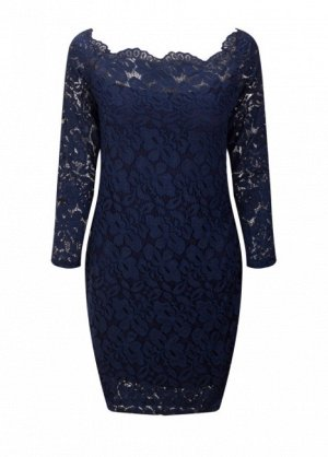 Платье короткое кружевное с длинными рукавами цвет: ТЕМНО-СИНИЙ
