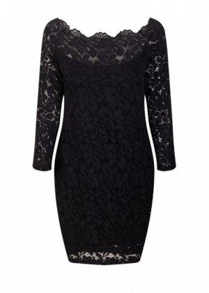 Платье короткое кружевное с длинными рукавами цвет: ЧЕРНЫЙ