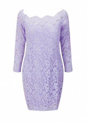 Платье короткое кружевное с длинными рукавами цвет: СВЕТЛО-ФИОЛЕТОВЫЙ