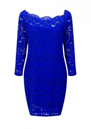Платье короткое кружевное с длинными рукавами цвет: СИНИЙ
