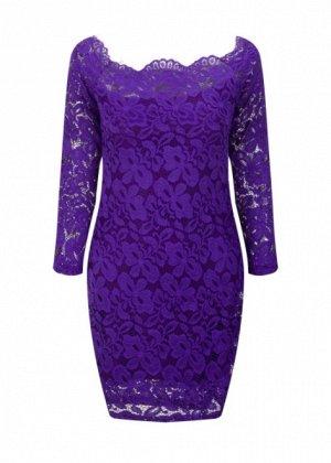 Платье короткое кружевное с длинными рукавами цвет: ФИОЛЕТОВЫЙ