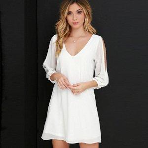 Платье короткое с рукавами 2/3 цвет: КРЕМОВЫЙ
