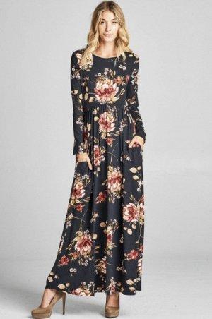 Платье длинное с длинными рукавами цвет: ЧЕРНЫЙ