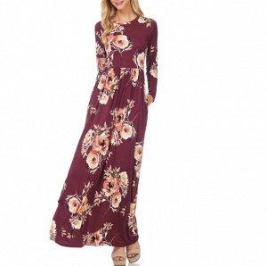 Платье длинное с длинными рукавами цвет: КРАСНЫЙ