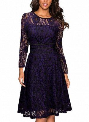 Платье короткое с длинными рукавами цвет: ФИОЛЕТОВЫЙ