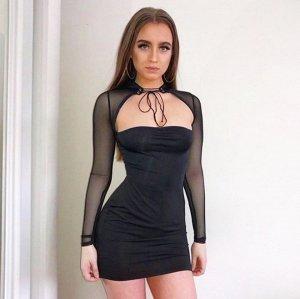 Платье короткое с прозрачными рукавами цвет: ЧЕРНЫЙ