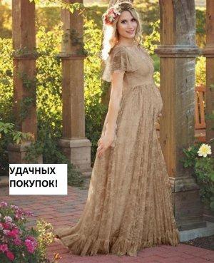 Платье длинное кружевное с короткими рукавами цвет: КОРИЧНЕВЫЙ